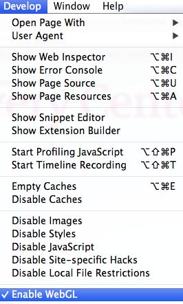 Enabling WebGL on Safari on a Mac