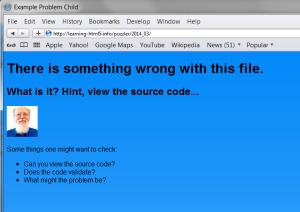 Safari view of page